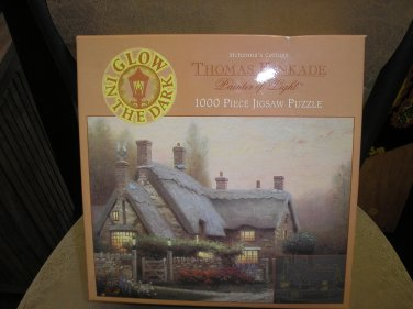 "THOMAS KINKADE PAINTER OF LIGHT ""McKENNA'S COTTAGE"" GLOW IN THE DARK 1000 PC JIGSAW PUZZLE by CEACO!"