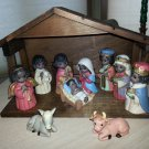 BLACK/BROWN SKIN NATIVITY SET - 11-PIECE CERAMIC with PRECIOUS MOMENTS-TYPE FACES - UNIQUE & RARE!