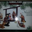 KIRKLAND SIGNATURE 13 PIECE PORCELAIN NATIVITY SET - HAND PAINTED with GOLD ACCENTS & JEWELS!
