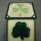 """AN IRISH BLESSING"" GREEN GLASS SHAMROCK PAPERWEIGHT!"