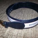 Gucci Men's Navy Blue Fabric & Leather Belt - SIZE 42- VINTAGE - RARE - AUTHENTIC!
