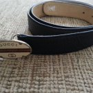 Gucci Navy Leather Belt with Silver Tone Enamel Buckle - SIZE L/XL- VINTAGE - AUTHENTIC!