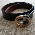 Gucci Women's Dark Brown Leather Belt - Two Tone Interlocking GG Buckle-SIZE M/L-VINTAGE-AUTHENTIC!
