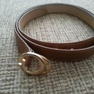 "Gucci Women's Light Brown Leather Belt - Gold Tone ""G"" Buckle - SIZE M/L - VINTAGE - AUTHENTIC #1!"