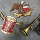 SEXTON PATRIOTIC MILITARY AMERICANA 3 Piece Cast Iron Wall Plaque Set -DRUM & SWORDS, EAGLE & BUGLE!