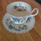 "Royal Albert Flower of The Month ""July"" Forget-Me-Not Bone China Teacup and Saucer Set!"