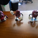 California Raisins Figurines-The Del Monte Trio-1987/1988-Tiny Goodbite/Justin X. Grape/Guitarist!