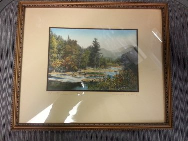A Stream in Haste by Wallace Nutting - hand-colored photograph - Circa 1930 - Matted & Framed!