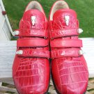 FENNIX ITALY RED TRIPLE STRAP LEATHER ALLIGATOR Shoes #3107 - 100% AUTHENTIC!