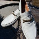 AUTHENTIC VINTAGE GUCCI MEN'S WHITE LEATHER SLIP ON LOAFERS-INTERLOCKING SIGNATURE GG BUCKLE-SZ 43!