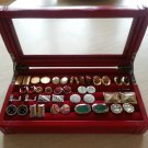Cherry Leather Cufflinks Collector's Case with shiny silver hingework!