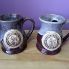 RENAISSANCE FESTIVAL 33rd STERLING NY Glazed Pottery Potbelly Tankard by Grey Fox Pottery -SET OF 2!
