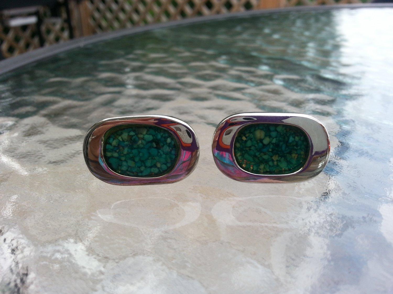 Vintage Green Mosiac Cufflinks by Celebrity in a Silver Clad Setting!