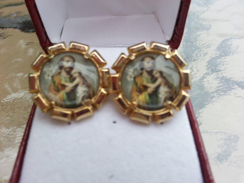 Vintage Photostone Saint Joseph Cufflinks in a Gold Clad Setting!