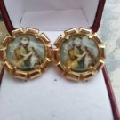 Vintage Photostone Saint Joseph Cufflinks in a Gold Clad Setting!