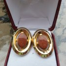 Vintage Goldstone Oval Cufflinks in a Gold Clad Setting!