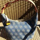 Dooney & Bourke Denim w/ Allover Tan Logo Saddle Leather Trim, Hobo Bucket Style Handbag-EXCELLENT!