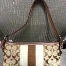 Coach Khaki Brown Signature Demi Bag with Suede & Leather Trim!