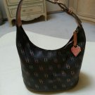 Dooney & Bourke Charcoal w/ Allover Multi Logo Saddle Leather Trim, Hobo Bucket Style Handbag!