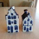 Lot of 2 KLM Airlines Rynbende Distilleries Blue Delft's Houses No 7 & 22!