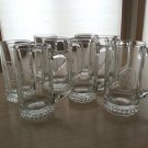 Lot Of 8 Vintage 1986 or 1987 Lowenbrau Beer Mug Etched Logo Glasses!