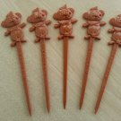 Trader Vic's Menehunes Swizzle Stick Drink Stirrers Hawaiian Polynesian Tiki circa 1970-Lot of 5!