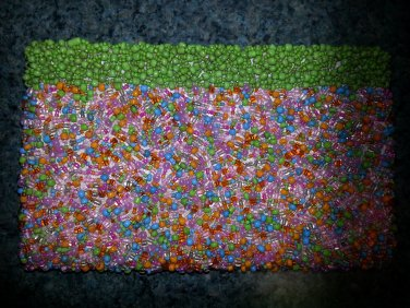 Vintage Beaded Evening Bag - Clutch style purse - PRETTY SPRING COLORS!