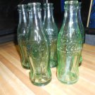 Vintage Coca-Cola Bottles - Green Glass Coke Bottles - Lot of 5 - Embossed with Cities and States!