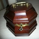 Virginia Metal Crafters Colonial Williamsburg Octagonal Mahogany Tea Caddy with KEY!!
