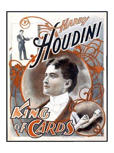Harry Houdini, King of Cards 18 x 24 FRAMED/Glass Giclee Print!