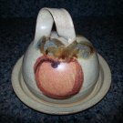 Moosehead Pottery Covered Butter Dish - Nice Apple design!