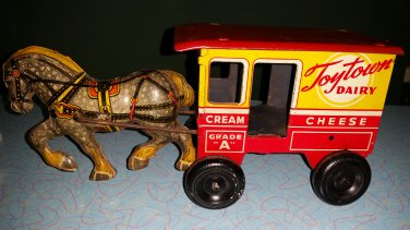 1950's LOUIS MARX TOYTOWN MILKWAGEN & HORSE TIN TOY!