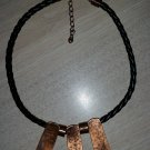 "Fabulous Vintage ""VOODOO"" Style Copper & Leather Collar Necklace - finished with tiny copper heart!"