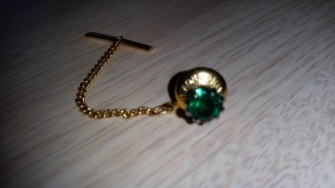 Vintage Tie Tack Signed Kinney Co. Prov. 3.R.I -Deep Green Srone in Goldtone Setting!