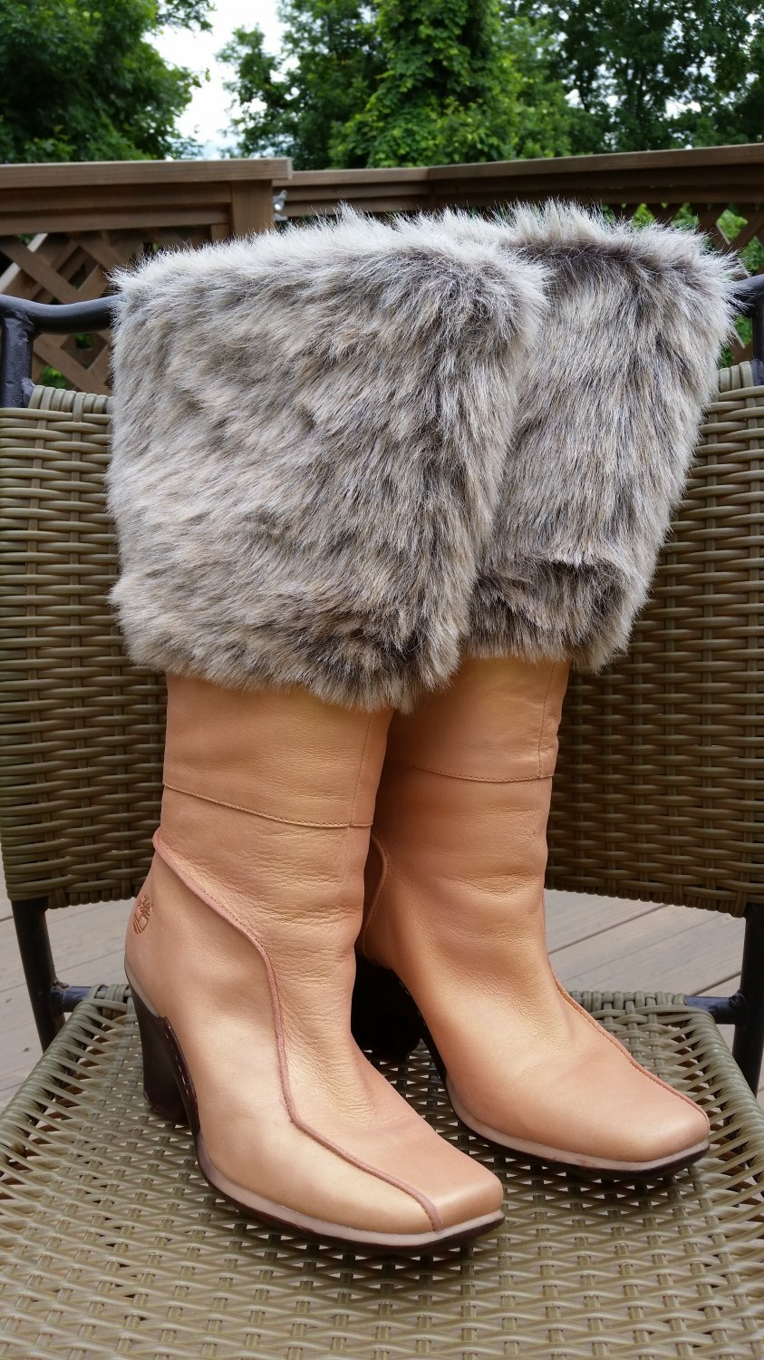 Women s Timberland Iridescent Peach Leather Faux Fur Wedge Heel Boots -  Size 8! 0bb89ebb8d80