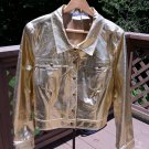 Newport News Jeanology Metallic Gold 100% Leather Jacket - Size 18 - GORGEOUS!
