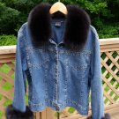 FUBU Black Fox Trimmed Denim Jacket - Plus Size 3X/4X - GORGEOUS!!
