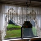 """VINTAGE ORNATE LACE CURTAINS from HOLLAND-12"""" TRIM-SET of 3 PANELS-ABSOLUTELY GORGEOUS + BONUS!"""