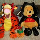 "Ty Beanie Baby Disney Winnie the Pooh Halloween Plush - ""Witch Pooh"" & ""Devil Tigger"" Set - NWT!"