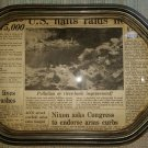 """ANTIQUE PHOTO PICTURE FRAME BUBBLE GLASS CONVEX 8 SIDED POLYGON SHAPE - 14"""" x 10""""!"""