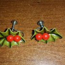 Vintage Christmas Green Celluloid Holly Leaves Red Berries Screwback Earrings - 1950's!