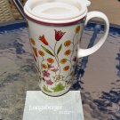 Longaberger Mother's Day Pottery Vitrified Travel Coffee Mug with Sealing Lid Floral 2011!