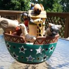 Noah's Ark Peruvian Pottery Religious Art Pottery Tealight Candleholder Sculpture South America!