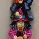 "Christopher Radko ""Witch & Pumpkin Totem"" Ornament - Halloween Christmas - 8 1/2"" Tall - RARE!"