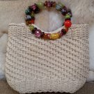 Cappelli Straworld Crochet Toyo Ring Bead Handle Beige Hand Bag Purse Tote - GORGEOUS Beaded Handle!
