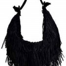 Jana Feifer Handbag Fringe Hobo Satchel Black Suede Shoulder Bag Purse Boho!