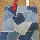 Polo Jeans Co. Ralph Lauren Denim Patchwork Hobo Handbag Tote - Adjustable Red Handle Accents!