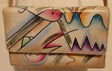 SAM SAM HAND PAINTED LEATHER PURSE - SIGNATURE ABSTRACT DESIGN - 1980's - EXCELLENT!
