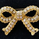 Textured Rhinestone Bow Pin Brooch - LARGE & BOLD - DIMENSIONAL!