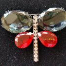 Striking Faceted 2 Tone Butterfly Pin Brooch - LARGE & BOLD - RHINESTONE BODY!